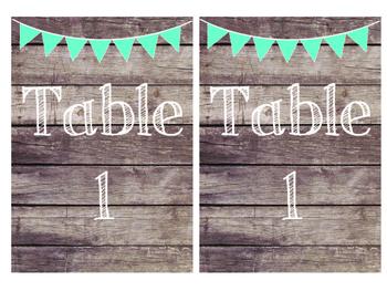 Rustic Wood & Teal Banner Table Numbers