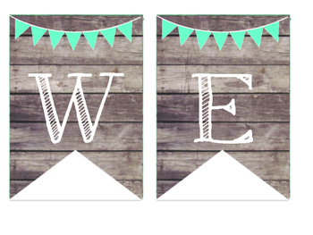Rustic Wood & Teal Banner Welcome Banner