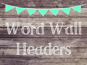 Rustic Wood & Teal Banner Word Wall Headers
