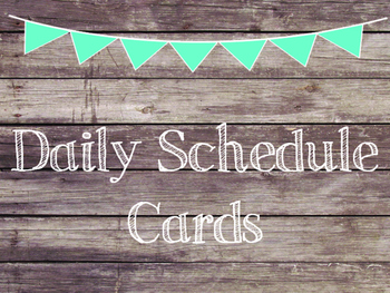 Rustic Wood & Teal Banner Daily Schedule Cards