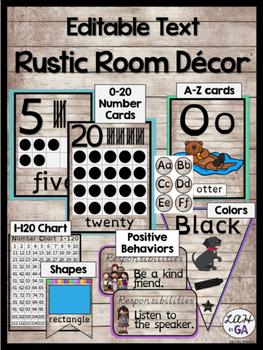 Rustic Wood Themed Class Decor (Editable Version)