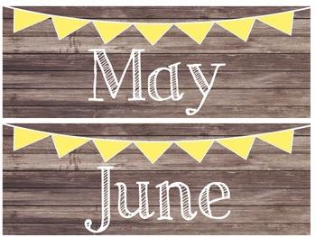 Rustic Wood & Yellow Banner Calendar Set