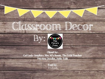 Yellow Classroom Decor : Rustic wood & yellow banner classroom decor bundle by miss pierces