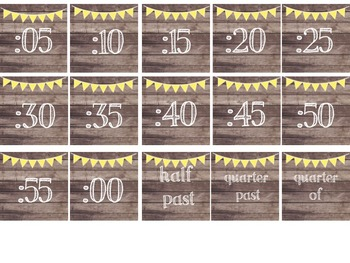 Rustic Wood & Yellow Banner Clock Numbers