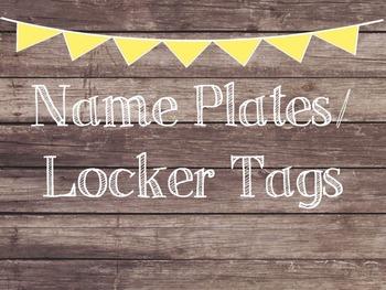 Rustic Wood & Yellow Banner Name Plates-Locker Tags