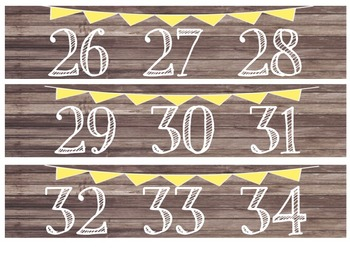 Rustic Wood & Yellow Banner Number Line