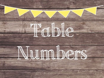 Rustic Wood & Yellow Banner Table Numbers
