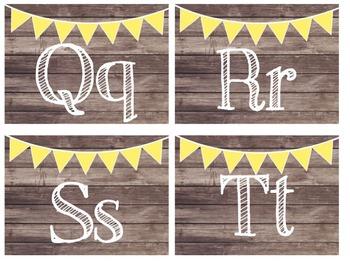 Rustic Wood & Yellow Banner Word Wall Headers