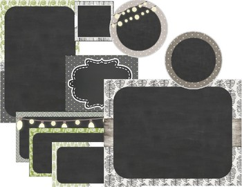 Rustic Wood and Chalkboard - Farmhouse Chic with Green Editable Labels