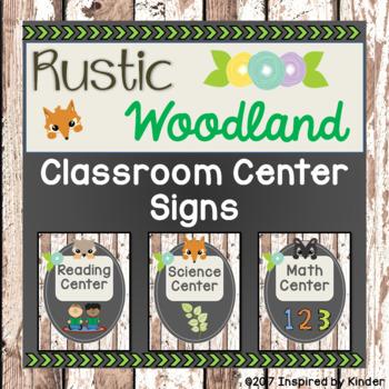 Rustic Woodland Animal Classroom Center Signs