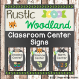 Rustic Woodland Animal Classroom Center Signs