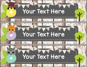 Rustic Woodland Animal Editable Labels