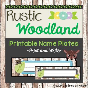 Rustic Woodland Animal Name Plates {Free}