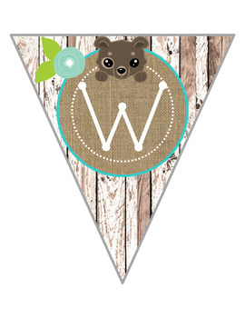 Rustic Woodland Animal Welcome Banner