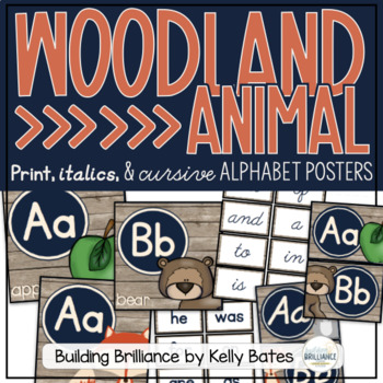 Rustic Woodland Animals Alphabet Cards ONLY (Ball and Stick Font)