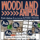 Rustic Woodland Animal Alphabet Posters (Print, Italics, and Cursive Fonts)