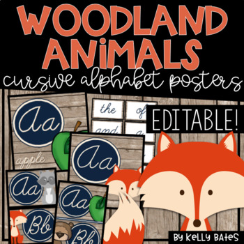 Rustic Woodland Animals Alphabet Cards ONLY (Cursive Font)