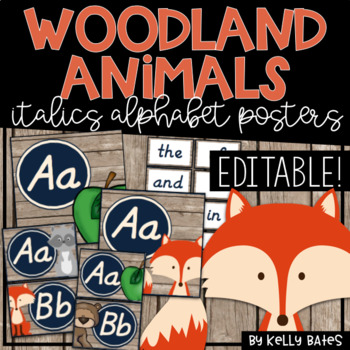 Rustic Woodland Animals Alphabet Cards ONLY (Italics Font)