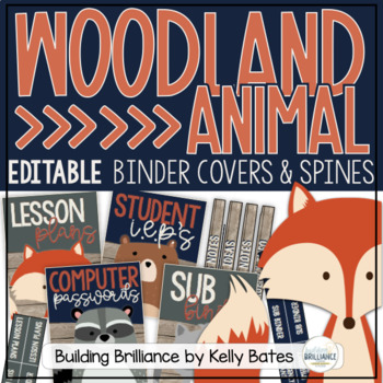Rustic Woodland Animals BINDER COVERS ONLY