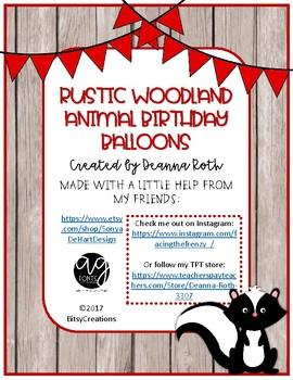 Rustic Woodland Animals Birthday Balloons