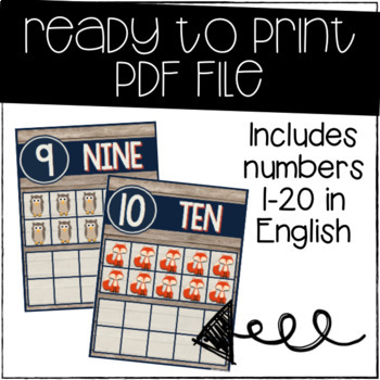 Rustic Woodland Animals Number Posters {EDITABLE}