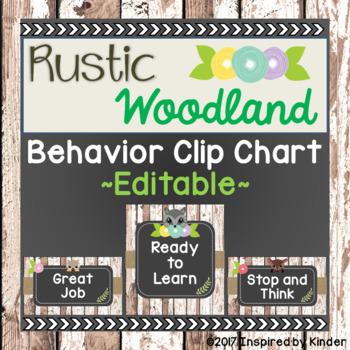 Rustic Woodland Behavior Clip Chart (Editable)