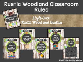 Rustic Woodland Classroom Rules and BONUS Poster