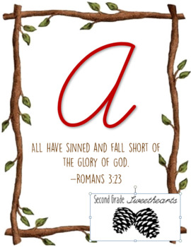 Rustic Woodland Cursive Alphabet Posters with Bible Verses