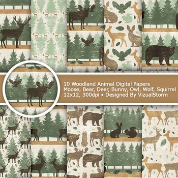 Woodland Animals Digital Paper - 10 Rustic Forest Patterns