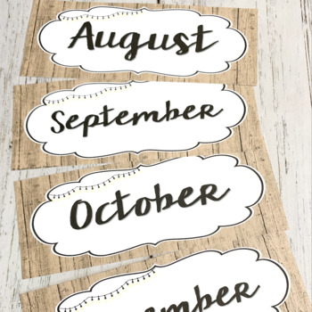 Rustic and Lights Classroom Decor, Calendar, and More