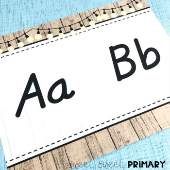 Rustic and Lights Classroom Alphabet Lines