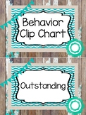 Rustic and Teal Behavior Clip Chart. Classroom Management.