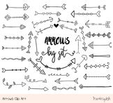 Rustic doodle arrows clipart set, Hand drawn black tribal
