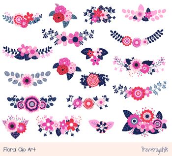 Rustic Flower Clipart Blue Pink Floral Wedding Vintage Bouquet Bunch
