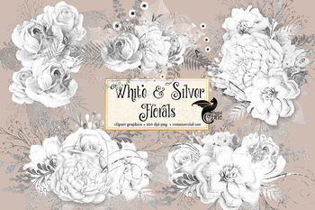 Rustic white and silver floral clipart, wedding flowers, rose overlays