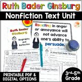 Ruth Bader Ginsburg Biography Nonfiction Text Activities | I Dissent Digital