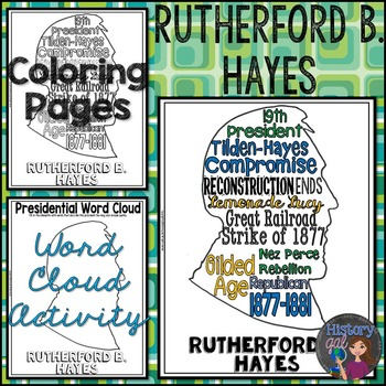Rutherford B. Hayes Coloring Page and Word Cloud Activity