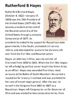 Rutherford Birchard Hayes Handout