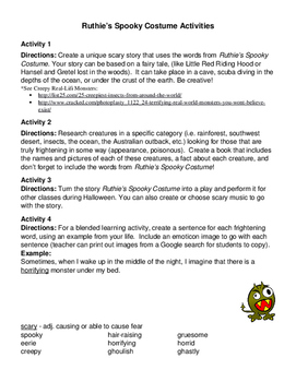 """Halloween Lesson Using Synonyms for """"Scary"""": Ruthie's Spooky Costume"""