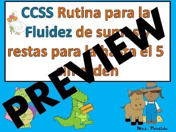 Rutina Diaria de Sumas Restas 5 Bilingual Stars Mrs. Partida