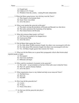 Rwanda Genocide - Assessment Test (PDF)
