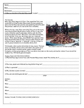 Rwanda Genocide Day 1 Materials