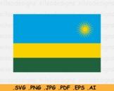 Rwanda National Flag, Rwandan Country Banner Cricut Print SVG EPS AI PNG JPG PDF