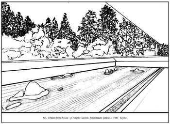 Ryoan - ji Temple Garden.  Coloring page and lesson plan ideas
