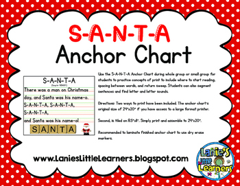 S-A-N-T-A Anchor Chart {Christmas Printable}