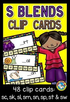 S BLENDS CLIP CARDS: PHONICS CENTER: S BLENDS ACTIVITIES: S BLENDS CENTER