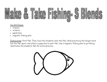 S BLENDS Make & Take Fishing, SPEECH THERAPY Articulation