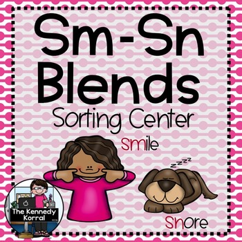Word Work - S BLENDS - SM-SN Sorting Center {ABC Order, An