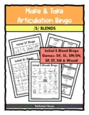 Articulation Games S BLENDS Make & Take BINGO, Speech Therapy, Distance Learning