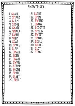 S Blends Clip Cards: sc, sk, sl, sm, sw, sn, sp, st